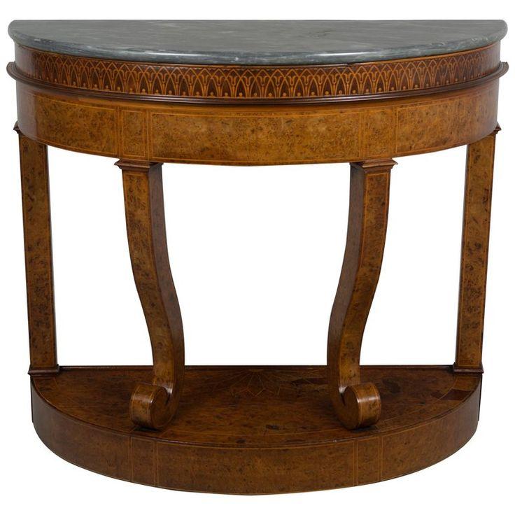 1stdibs Console Table – Demilune Console Jardiniere German Biedermeier Marble, Birdseye Maple