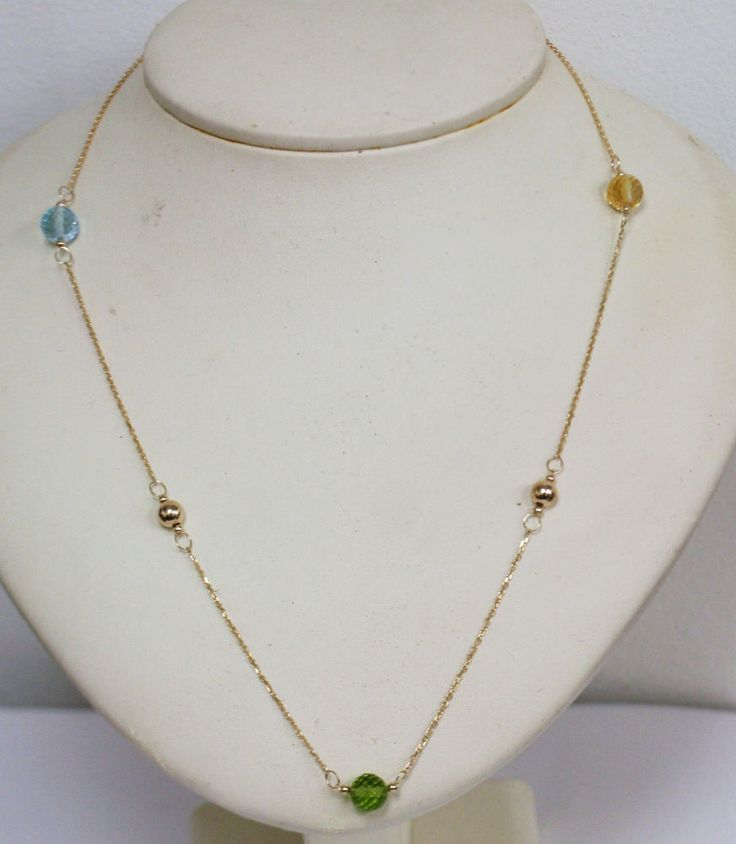 "Gems 10K Yellow Gold Necklace Natural Blue Topaz Citrine Peridot Briolettes 18"" #GemstoneNecklace"