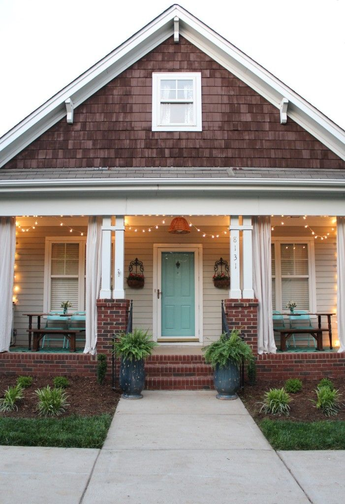 The Porch Project Reveal - Simple Stylings, Southern Style Porch with a haint blue ceiling and string lights, porch makeover, www.simplestylings.com