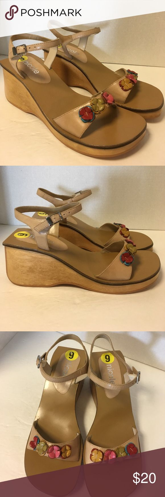 NWT Nicole Wood Block Wedge Sandals w/ Flowers 9 Cute cute cute!!!!   NEW-  Original price $49.99- TJ Max price $29.99.  I sell through various venues so if you like them, don't hesitate! Nicole Shoes Sandals