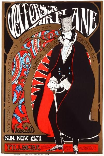 STANLEY MOUSE:This show was at the Fillmore auditorium in 1966.This show was put on by Students of San Francisco State University rather than Bill Graham presents. In the 1960's the thrift stores of San Francisco were full of Victorian era clothing. Top Hats and lace became the uniform of the hippies. reflected the Victorian trend of the time. Edwardian Ball poster Offset litho