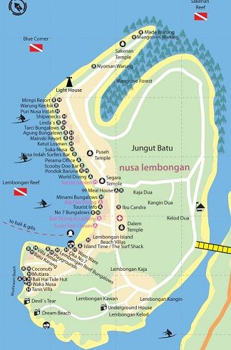Bali, Nusa Lembongan map