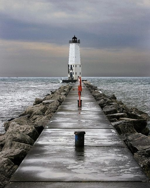 Lighthouse: Frankfort, MI. My favorite walk!!! Coffee in the morning, walk the pier, perfect.