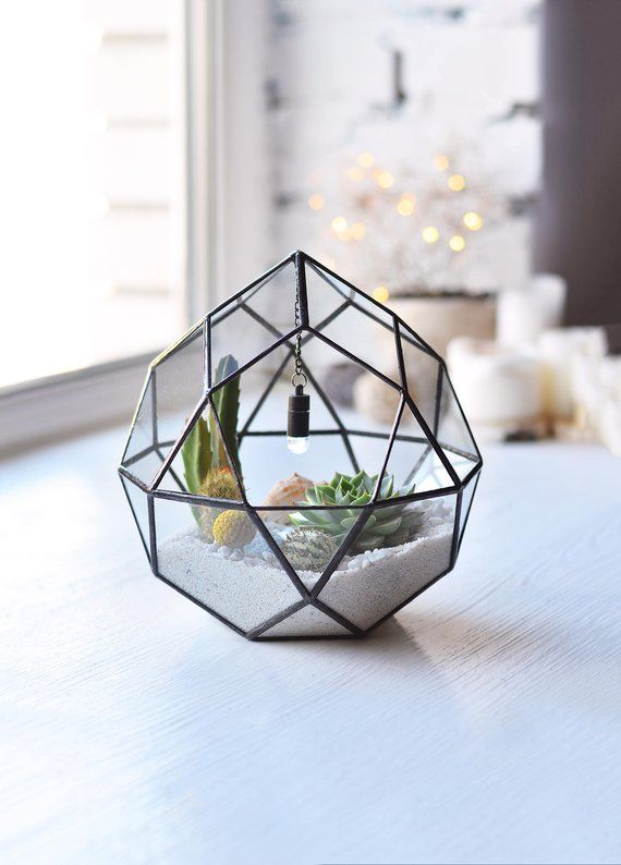 Stained Glass Terrarium Geometric Planter Succulent Terrarium
