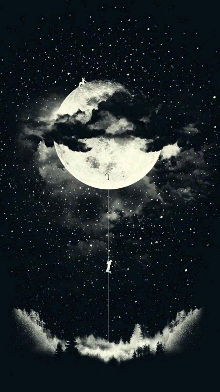 Nature Beauty Beautyfull Scense Black White Moon Stars Sky Moon Art Art Wallpaper Galaxy Wallpaper