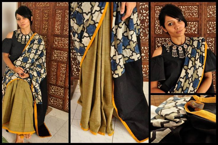 SUMMER COLLECTION - CHASING BUTTERLIES 29 - TADKA! Ash green and ajrak printed…