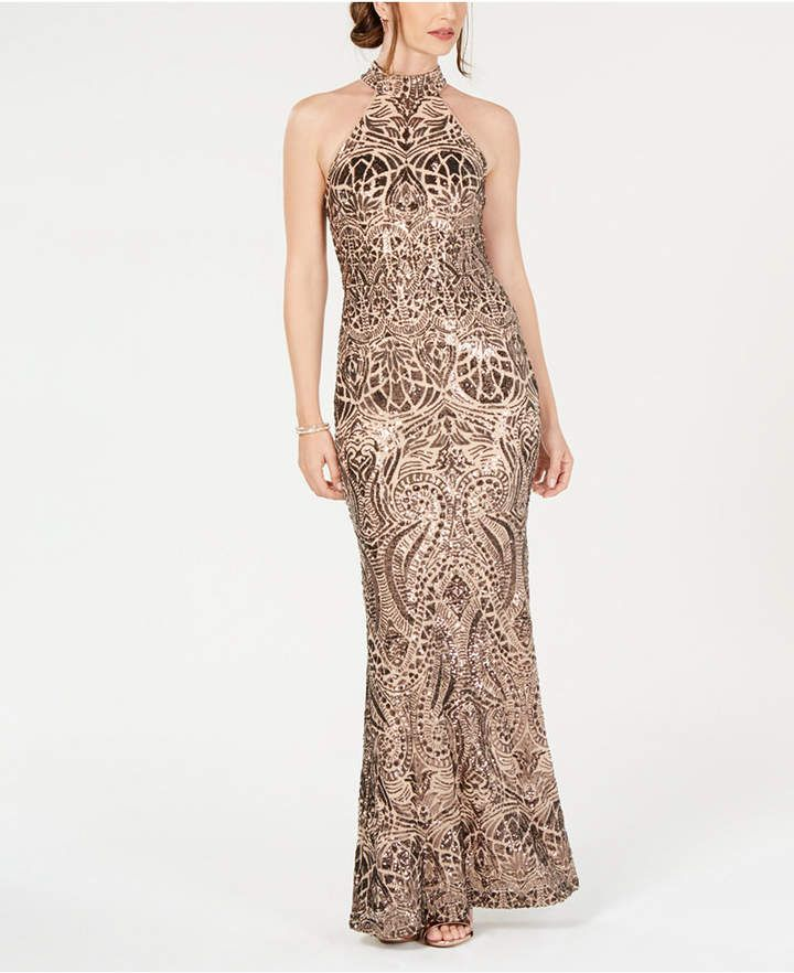 299f57aabd8e Betsy & Adam Placed-Sequins Halter Gown in 2019 | Products | Dresses ...