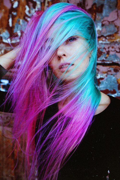 I wish! Gorgeous pink purple turquoise hair!! Mermaid status