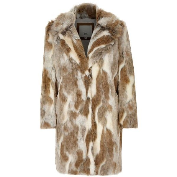 River Island Beige animal print faux fur coat ($170) ❤ liked on Polyvore featuring outerwear, coats, beige, coats / jackets, women, faux fur coat, animal print faux fur coat, animal print coat, long sleeve coat and river island coats