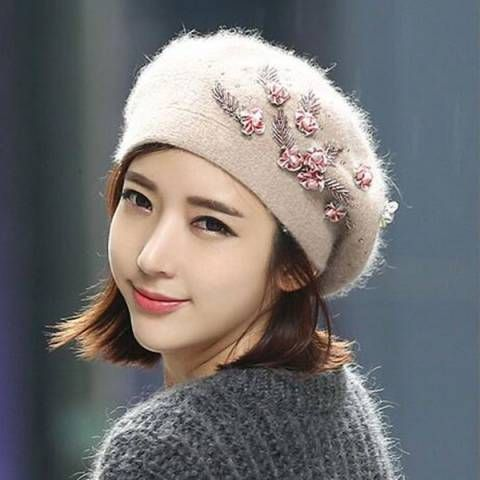 Flower wool beret hat for women fashion khaki color winter hats