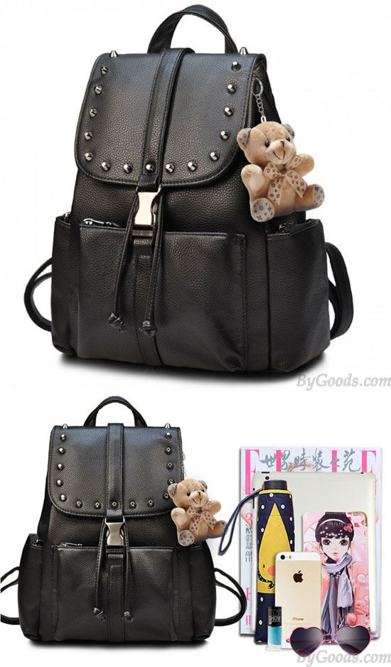63f0da320b Black Punk Rivet School Rucksack Bear Doll PU Travel Backpack for big sale!   rivet  backpack  Punk  Bag  school  college