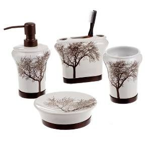 Keep everything organized in your bathroom with a 4-piece Tree bath coordinate set. It comes with a bathroom tumbler, toothbrush holder, soap dish and a lotion dispenser. The brown and white tree motif on each piece adds a sophisticated touch to your décor. This bath accessory set is ceramic.
