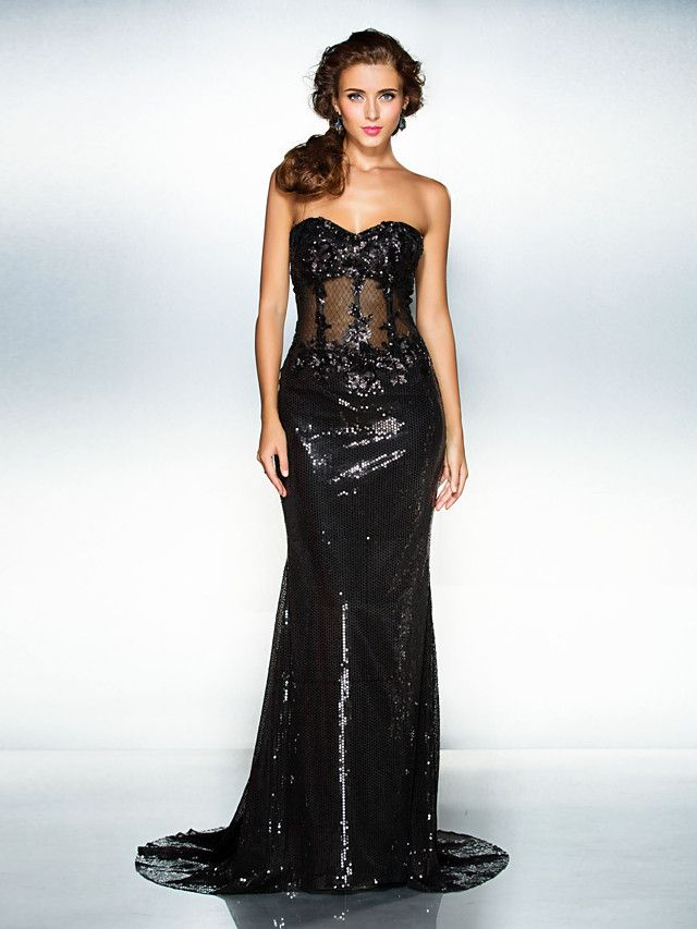 Formal Evening Dress - Black Trumpet/Mermaid Sweetheart Court Train Sequined - GBP £102.19