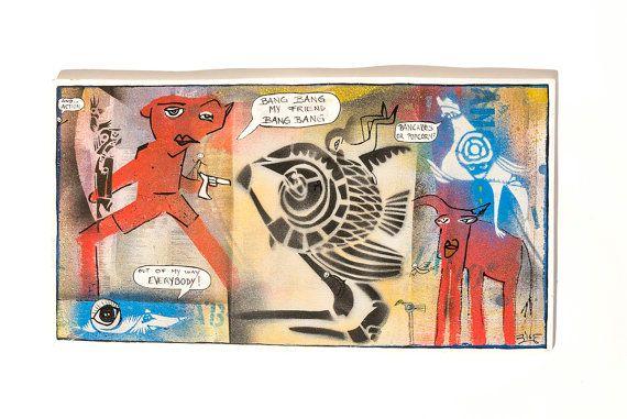 IN ACTION, original art, art on plywood, stencils, graffiti art, mixed media art, acrylic painting, urban art, home decoration,