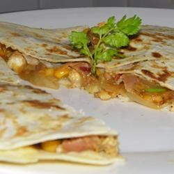 Mango Quesadillas Allrecipes.com  Oh, holy YUM!  And healthy!  I served it with greek yogurt instead of sour cream.  There is nothing unhealthy about this recipe.