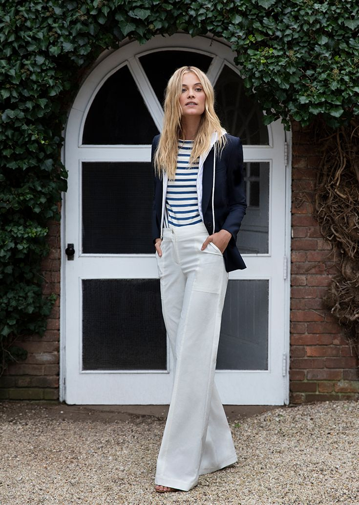 Veronica Beard Collection, Spring Style: Dickey Jacket, Striped Shirt, White Wide Leg Pants, Hoodie Dickey.
