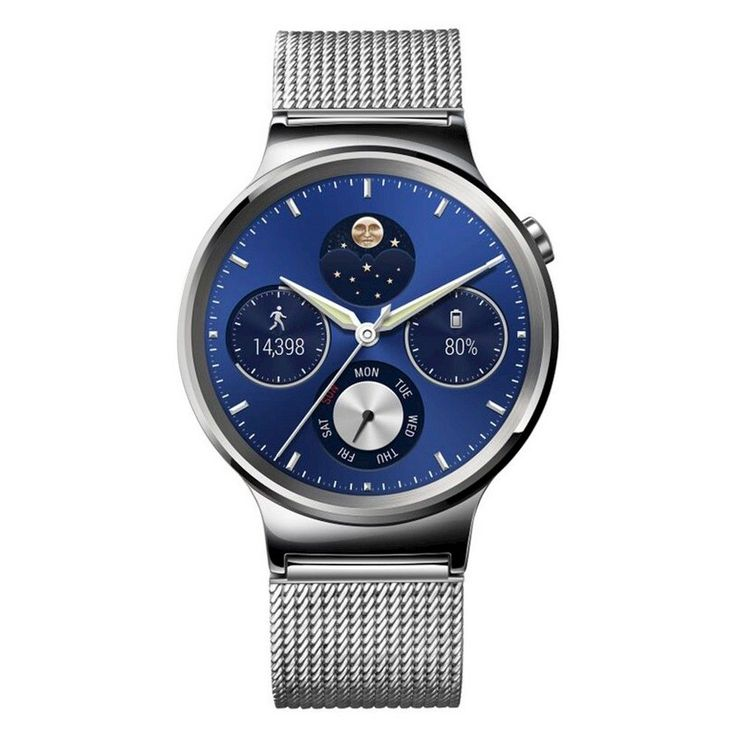Huawei 18mm Smartwatch for Select Apple iOS and Android Devices - Silver Stainless Steel with Stainless Steel Mesh
