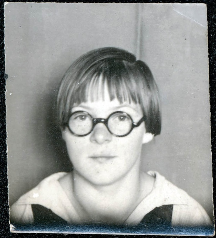 ** Vintage Photo Booth Picture **  Tomboy with horn rimmed glasses and Paper Moon style hair cut.