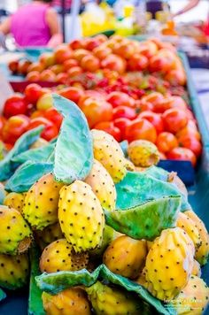 Delicious prickly pears at a #streetmarket in Crete