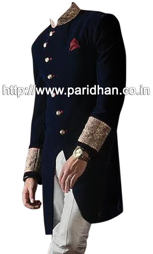 Navy Blue color fabulous-indo-western-sherwani,Indian wedding outfits