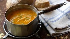 Carrot and Coriander soup: 1 onion and 450g carrots soften for 3-4 mins; add 1tbsp ground coriander; 1.2 litres veg stock, bring to boil and simmer for 20 mins; add fresh coriander.