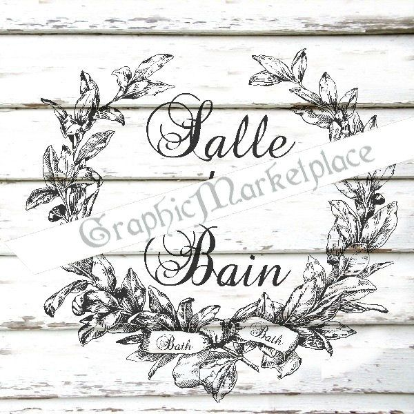 This is a digital INSTANT DOWNLOAD Salle de Bain Wreath    Printable digital images for your craft. Digital Download in 300 dpi high resolution and ready for 8 1/2 x 11 ( A4 ) printing.    You will receive:  JPG file with white background  JPG file with white background reversed  JPG file with wood background  PNG file with transparent background    The watermark does not appear on the final product.  This digital image is instantly available for download, when payment is confirmed…