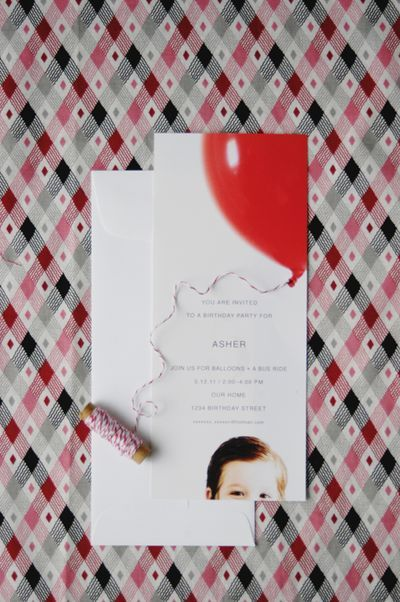 invitation with maybe a rainbow over head instead of balloon for Ad's party