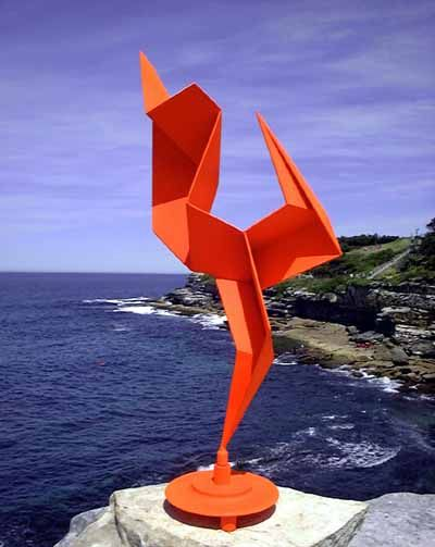 Steel Abstract Contemporary or Modern Garden / Yard sculpture by artist Todor Todorov titled: 'Dancing Figure (Painted Steel Contemporary Kinetic Garden /Yard statue)'