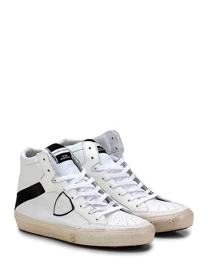 PHILIPPE MODEL PARIS - Sneakers - Uomo - Sneaker in pelle con logo su lato esterno e suola in gomma. Tacco 35, platform 25 con battuta 10.  - WHITE\BLACK - € 275.00