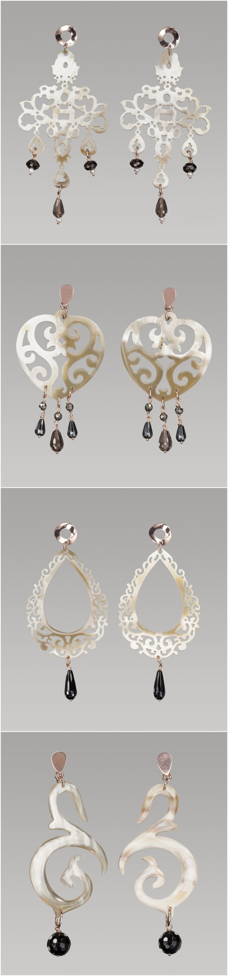 Horn earrings with grey and black stones and Silver 925. All handmade and made in Italy! Visit our website for buy all jewels: http://www.antogioielli.it/
