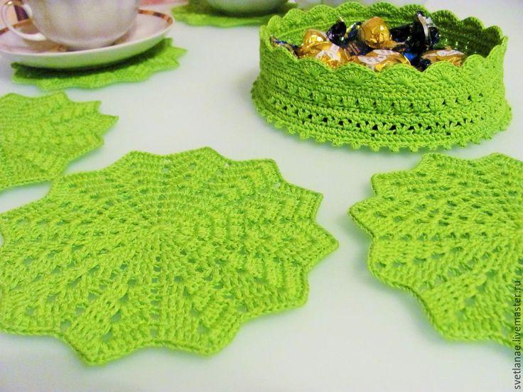 Купить Сервировочный комплект - подставки под чашки и корзинка - салатовый, ярко-зеленый, мексика, подставка