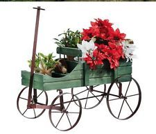 Wooden Rustic Country Amish Wagon Planter Garden Rolling Iron Wheels Cart