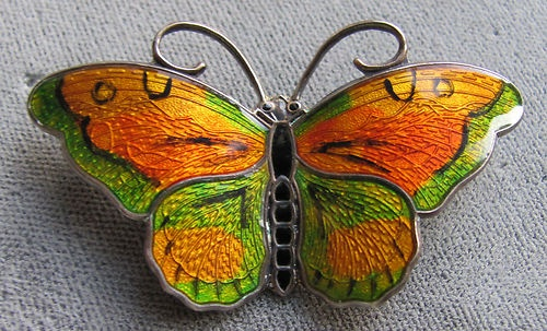 Vintage Sterling Silver Enamel Butterfly Pin Brooch Hans Myhre Oslo Norway 925 | eBay