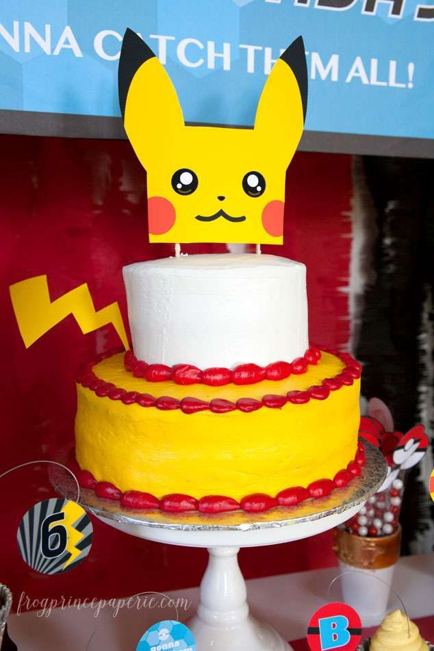 Pikachu cake at a Pokemon birthday party! See more party ideas at CatchMyParty.com!