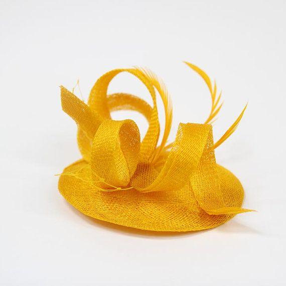 Yellow Fascinator HatSinamay Cocktai Hat by KasiaGirtler on Etsy