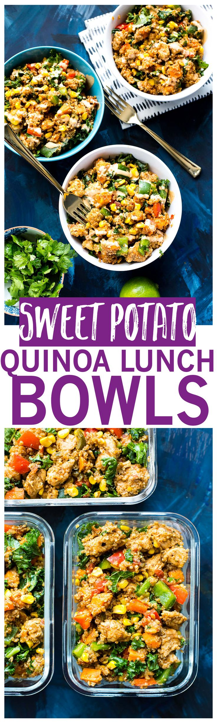 Sweet Potato, Kale & Quinoa Lunch Bowls are the ultimate make-ahead lunch, filled with tons of veggies and chicken, then drizzled with a spicy chipotle sauce!