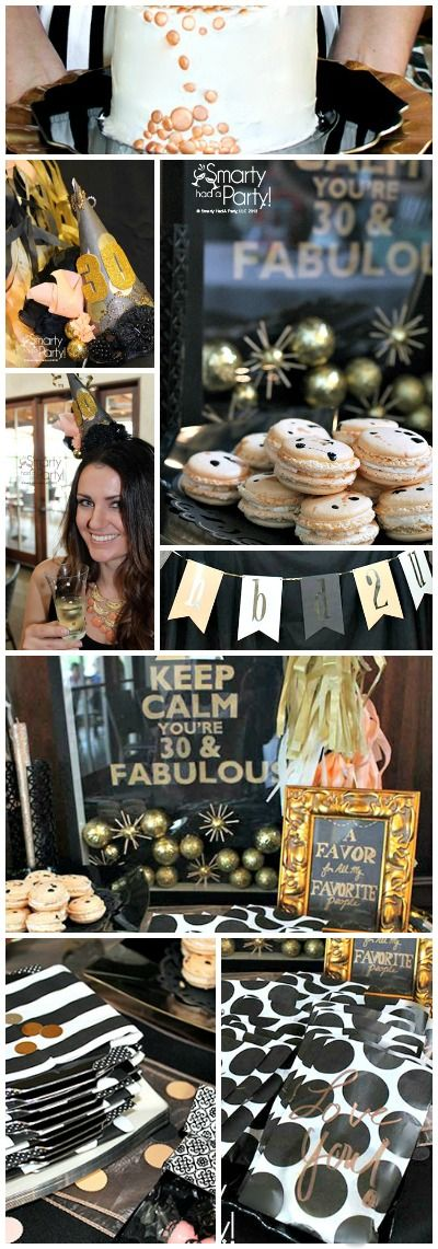 Peach, black and gold stylish adult birthday theme by by #Smartyhadaparty