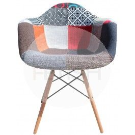DAW Eames Chair Replica - Vintage Patchwork Chair Timber