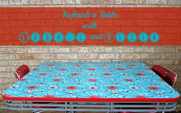 covering your table or counter with fabric and resin - what a great alternative and there are some many decorating advantages