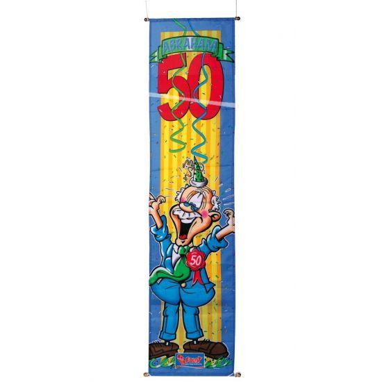 Grote Abraham 50 jaar banier om op te hangen. Formaat Abraham decoratie banier: 40 x 180 cm. Maak uw Abraham, 50 jaar feestje compleet met deze grote opvallende banier.