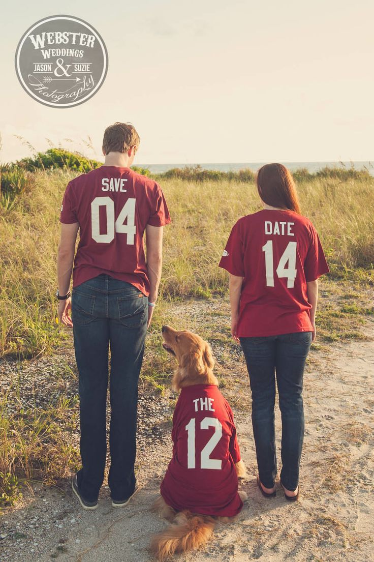 Couple With Sports Jerseys and Dog Engagement Photo, Florida Weddings | Weddings Illustrated