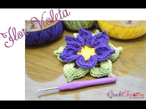 Crochê - Flor Violeta - YouTube                                                                                                                                                                                 Mais