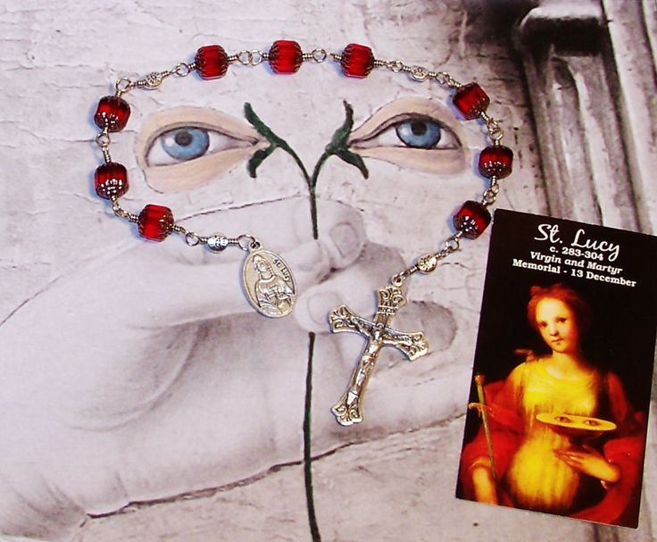 Unbreakable Relic Chaplet of St. Lucy of Syracuse - Patron Saint of Eye and Throat Problems, Laborers and Writers by foodforthesoul on Etsy