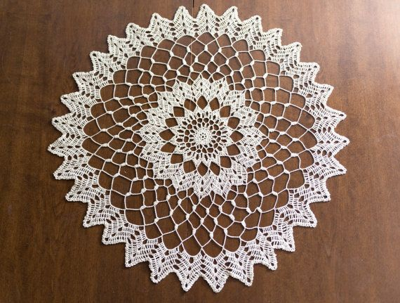 Lace Large Doily Crochet Doily 2756  Inch Ecru by MaddaKnits