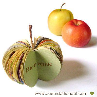 pomme marque place en papier recyclé (tuto)