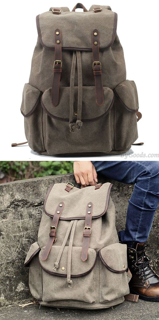 Retro Leather Strap Rucksack Thick Canvas Large Travel College Backpack for big sale ! #travel #canvas #leather #retro #backpack #camping #rucksack #bag