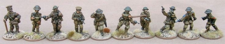Officers (from left to right): Scarab Miniatures, one of my own, Gripping Beast/Woodbine Design, 1st Corps, Renegade Miniatures, Great War Miniature, Brigade Games, Old Glory, Irregular Miniatures, and Wargames Foundry.