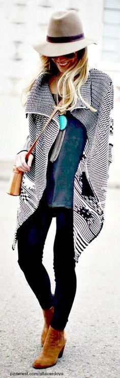 street style fedora + black and white pattern coat @wachabuy