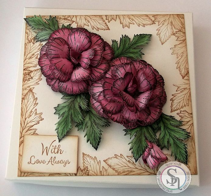 HSN – Gift Box made with Crafter's Companion Sheena Perfect Partners – Classic Carnation stamp and die. Coloured with Spectrum Noir Illustrator Pens AP1, AP3, DG2, DG3. Designed by Marie Jones #crafterscompanion #spectrumnoir
