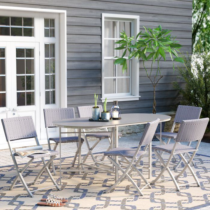 This Outdoor Living 7 Piece Steel Woven Wicker Compact Folding Patio Dining  Set Is Perfect For Small Outdoor Space Use. The Folding Chairs Will Match  Any ...